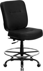 Big Tall Black Leather Drafting Stool With Extra Wide Seat