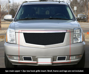 For 2007 2012 Cadillac Escalade Black Stainless Steel Mesh Grille Combo