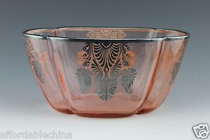 Art Deco English Pink Glass Bowl With Silver Overlay