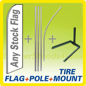 Swooper Flag Kit Feather Flutter Sign 15ft Flag Pole Tire Mount Stand