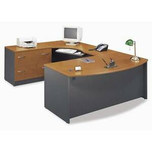 Executive Bow Front U shaped Desk With Keyboard Tray Natural Cherry Finish