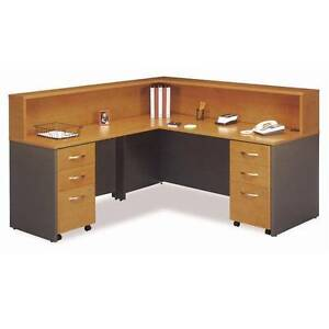 Executive L shaped Reception Desk Package Natural Cherry Finish