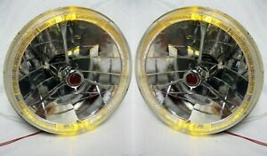 Street Rod 7 Tri Bar Red Dot H4 Headlights Pair W Amber Led Turn Signal Halo