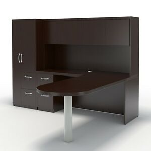 Mayline Aberdeen Executive L shaped Desk Package Mocha
