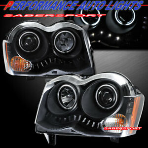 Pair Black Projector Headlights W Halo Rims For 2008 2010 Jeep Grand Cherokee
