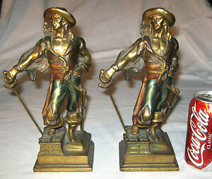 Antique Pompeian Bronze Clad Pirate Sword Art Statue Sculpture Bookends Herzel