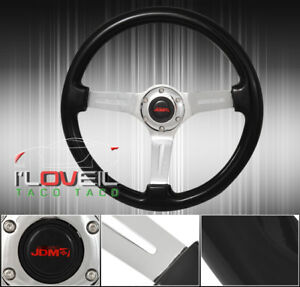 For Chevy 345mm Classic Black Old School Interior Steering Wheel Horn Button