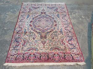 Semi Antique Persian Lavar Kerman Hand Knotted Wool Rug 4 1 X 7