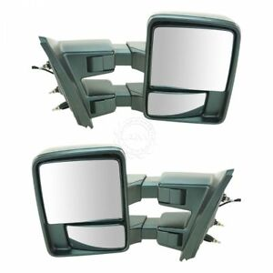 Towing Upgrade Mirror Manual Glass Power Folding Textured Dual Arm For Ford F150