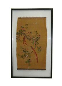 Vintage Chinese Kesi Tapestry Framed Two Sides Wall Art Cs657