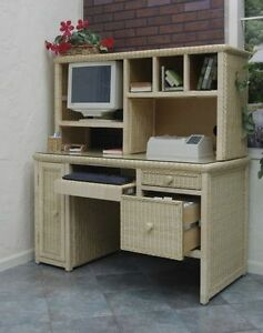 Executive Wicker Computer Work Desk Desk Only Natural Finish