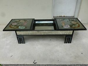 Eglomise Asian Style Mirrored Coffee Table Mannr James Mont W Hidden Compartment