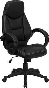 Lot Of 10 High Back Black Leather Contemporary Office Chair