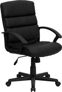 Lot Of 12 Mid back Black Leather Office Chair