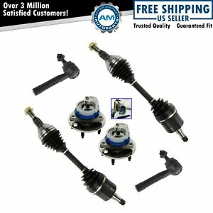 Front Cv Axle Shafts Outer Tie Rods Wheel Hubs Kit Set Of 6 For Chevy Buick Olds