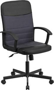 Mid back Black Vinyl Task Chair With Dark Gray Mesh Inserts