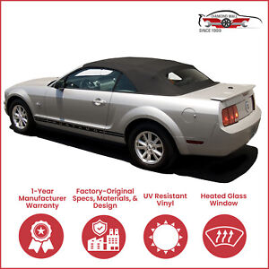 Ford Mustang Convertible Top Heated Glass Window Black Cloth 2005 2014