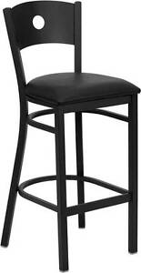 Lot Of 6 Black Circle Back Metal Restaurant Bar Stool Black Vinyl Seat
