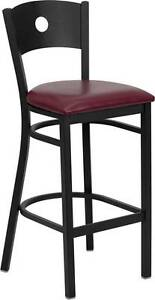 Lot Of 6 Black Circle Back Metal Restaurant Bar Stool Burgundy Vinyl Seat