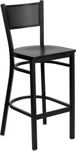 Lot Of 6 Black Grid Back Metal Restaurant Bar Stool Mahogany Wood Seat
