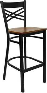 Lot Of 6 Black x Back Metal Restaurant Bar Stool Cherry Wood Seat