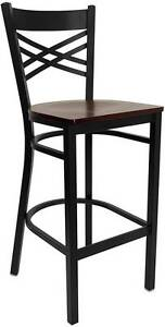 Lot Of 6 Black x Back Metal Restaurant Bar Stool Mahogany Wood Seat