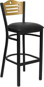Lot Of 6 Black Slat Back Metal Restaurant Bar Stool natural Wood Back Black Seat