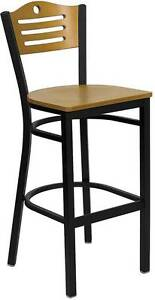 Lot Of 6 Black Slat Back Metal Restaurant Bar Stool Natural Wood Back