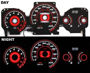 Glow Gauge Type r Red Reverse Mt Kmh Black Fits 96 00 Ek Honda Civic Ex Si Gli