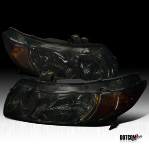 Fit 2006 2011 Honda Civic 2dr Coupe Smoke Headlights W Turn Signal Lamps Pair