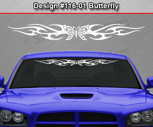 Design 116 01 Butterfly Tribal Flame Windshield Decal Window Sticker Graphic
