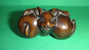 Antique Japanese Chinese Fine Carved Wood Mouse With Appels Netsuke Signed