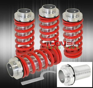 93 97 Toyota Corolla Aluminum Lowering Spring Coilover Sleeves Conversion Red