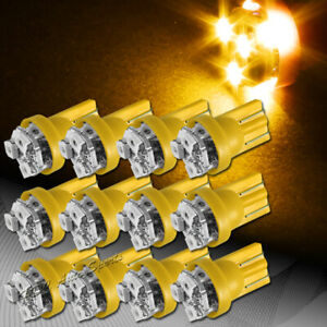 12x 3 Smd Led T10 Wedge Interior Instrument Panel Gauge Replacement Bulb Amber