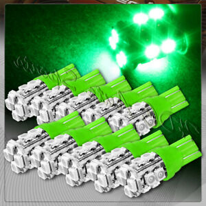 10x 12 Smd T10 194 12v Interior Instrument Panel Gauge Replacement Bulbs Green