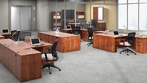 6 Contemporary Laminate Dark Cherry Finish L shape Office Desks With 1 Pedestal
