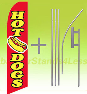 Hot Dogs Swooper Flag Kit Feather Flutter Banner Sign 15 Tall Rb