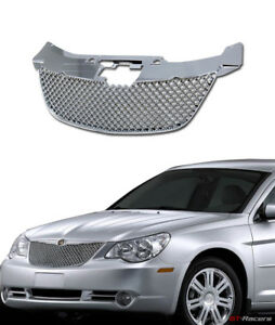For 07 10 Chrysler Sebring Chrome Honeycomb Mesh Front Hood Bumper Grill Grille