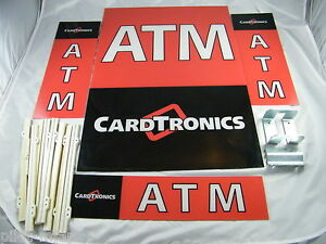 Triton 9100 Atm Lot Of 4 Plastic Cardtronics Atm Signs And Frames