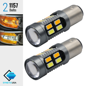 2x 1157 Dual Color Switchback 6000k White amber 20 led Turn Signal Light Bulbs