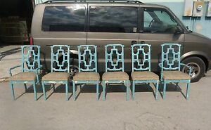 6 Gorgeous 1970 S Chinese Chippendale Chairs In Parzinger Blue P