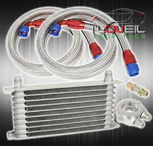 9 Row An10 Universal Engine Transmission Oil Cooler Silver Braid Hoses End Kit