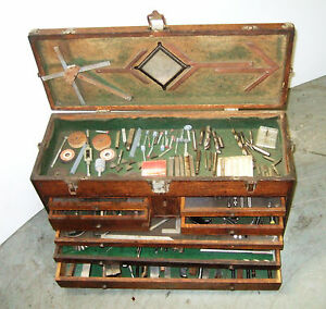 Vintage Gerstner Machinist Tool Chest Wood Box Full Of Tooling Micrometers 1
