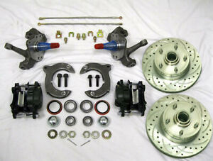 Mustang Ii Front Disc Brake Kit 11 Plain Rotors Chevy 2 Drop Spindles Ss Lines