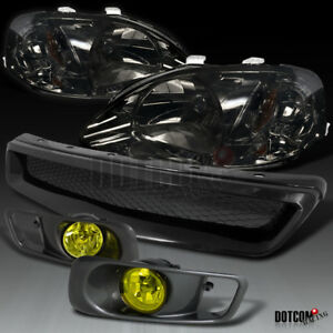 For 1999 2000 Civic Smoke Headlights Yellow Bumper Fog Lamps Mesh Hood Grille