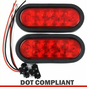 2 Red 6 Oval Trailer Lights 10 Led Stop Turn Tail Truck Sealed Grommet Plug Dot