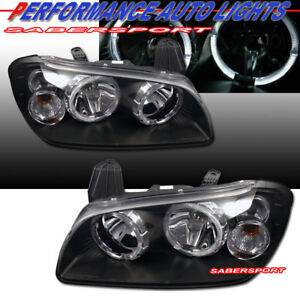 Set Of Black Headlights W Halo Rims For 2000 2001 Nissan Maxima Gxe Gle Se