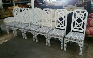 Best 6 70 S Tall Back Chinese Chippendale Fret Work Dining Chairs Palm Beach