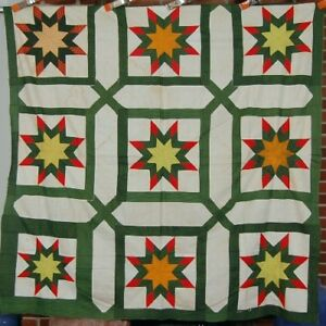 1850s Hand Stitched Stars Antique Quilt Top Garden Maze