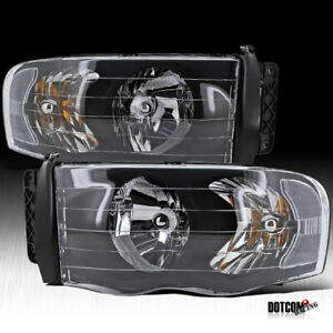 2002 2005 Dodge Ram 1500 2500 3500 Pickup Black Headlights Driving Head Lamps